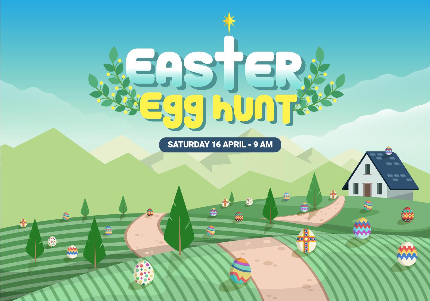 Farmyard Easter Egg Hunt Vector Illustration - Download ...