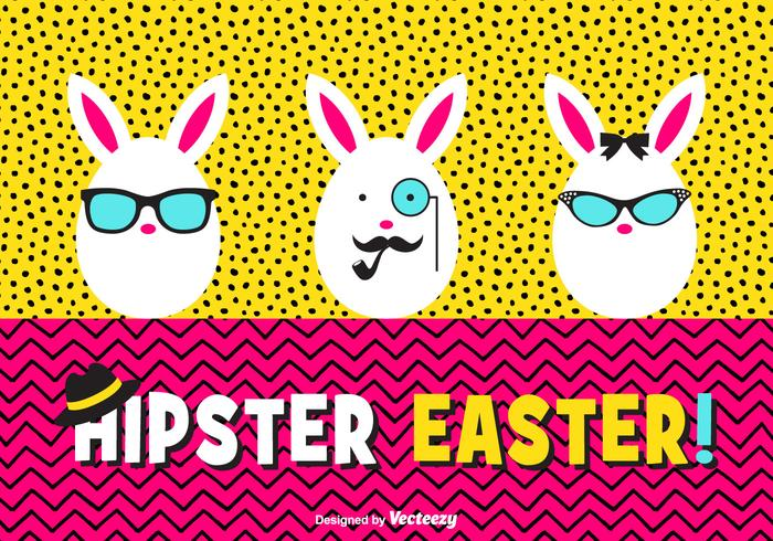 Gelukkig Hipster Easter Eggs Vector Card