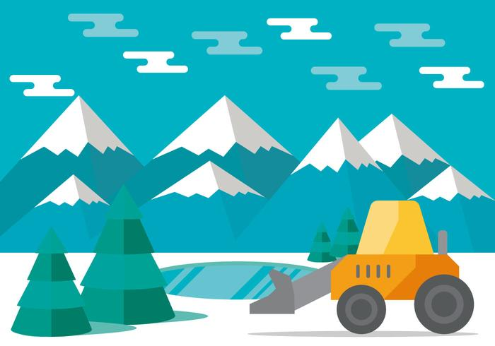 Snow Plow in the Mountains Vector