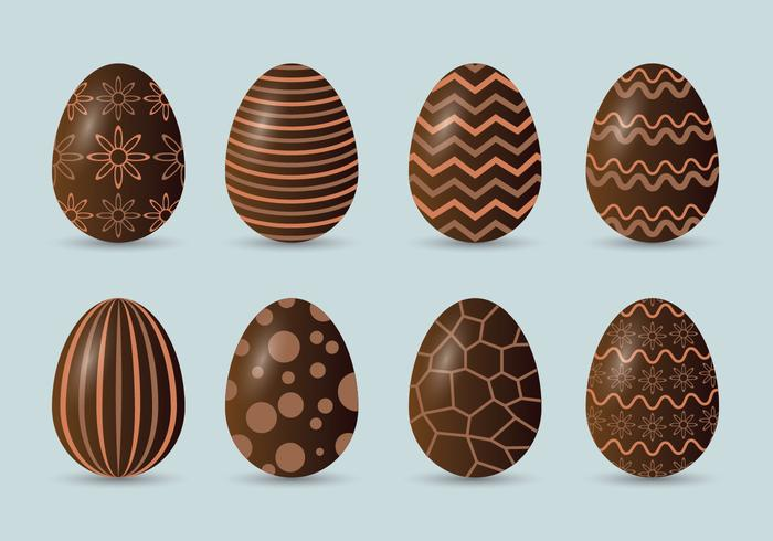 Chocolate Easter Eggs Icons Set
