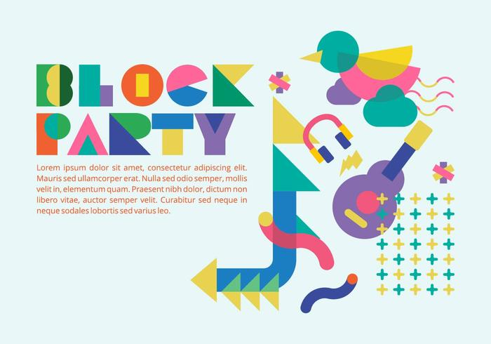 80s Style Block Party Background Vector