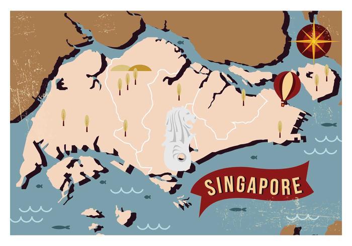 Vintage Singapore Karta vektor