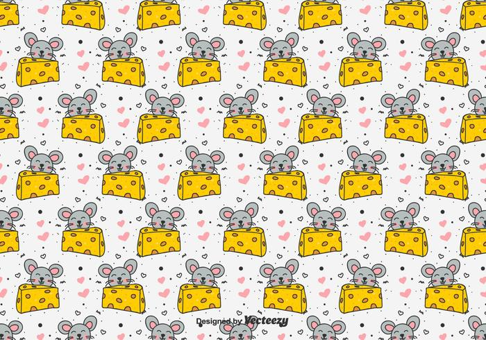Doodle Mouse And Cheese Vector Pattern