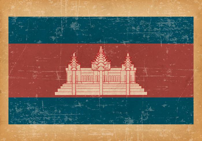 Grunge Flag of Cambodia vector