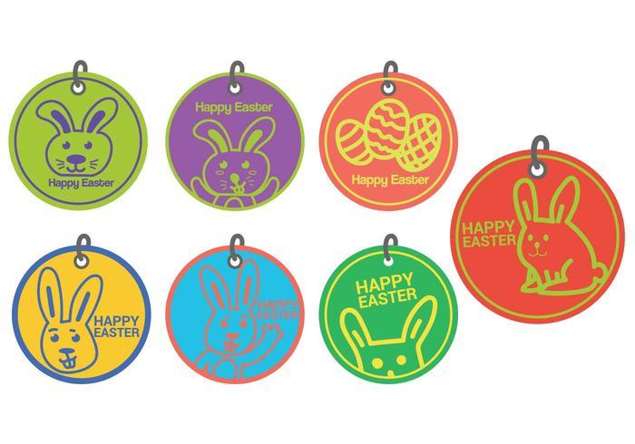 Easter gift tag circle vector set