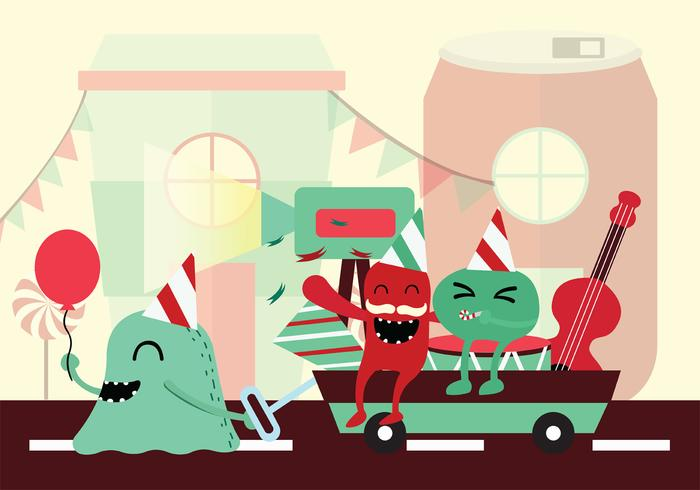 Monster Block Party Vector Background