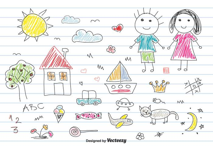 Children Drawing Vector Set