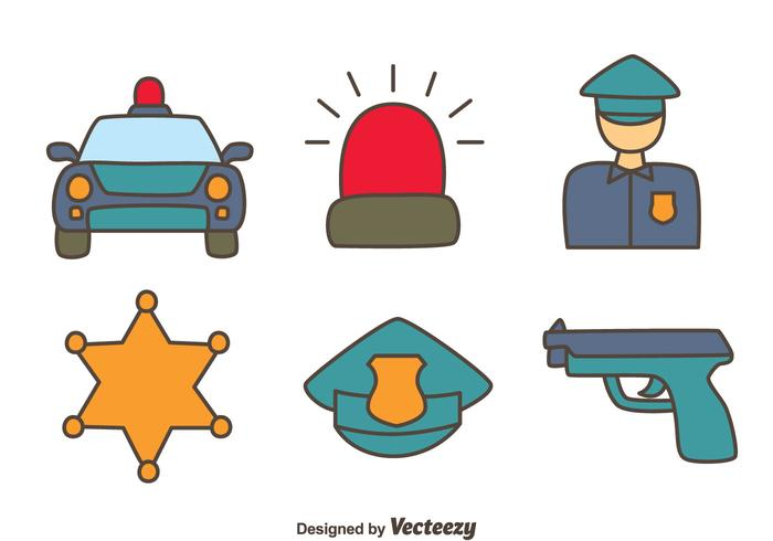 Hand Drawn Police Element Vectors