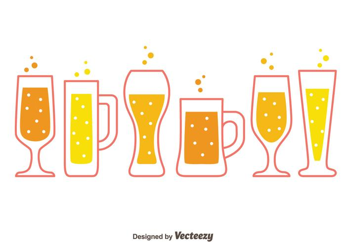 Beer Glasses Collection Vectors