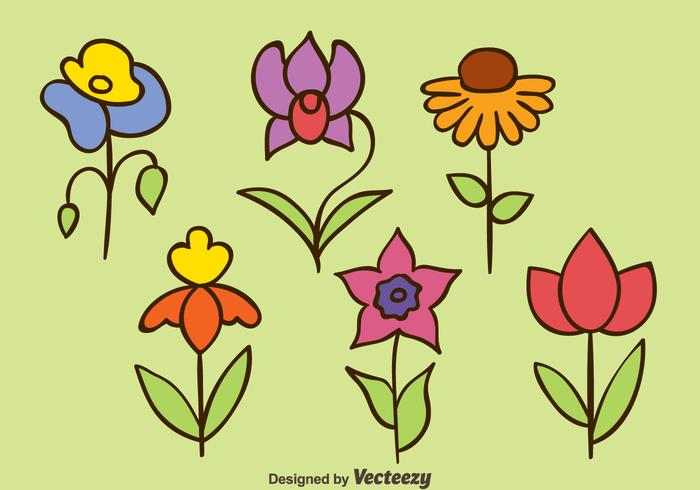 Hand getekende bloemen Collection Vectors