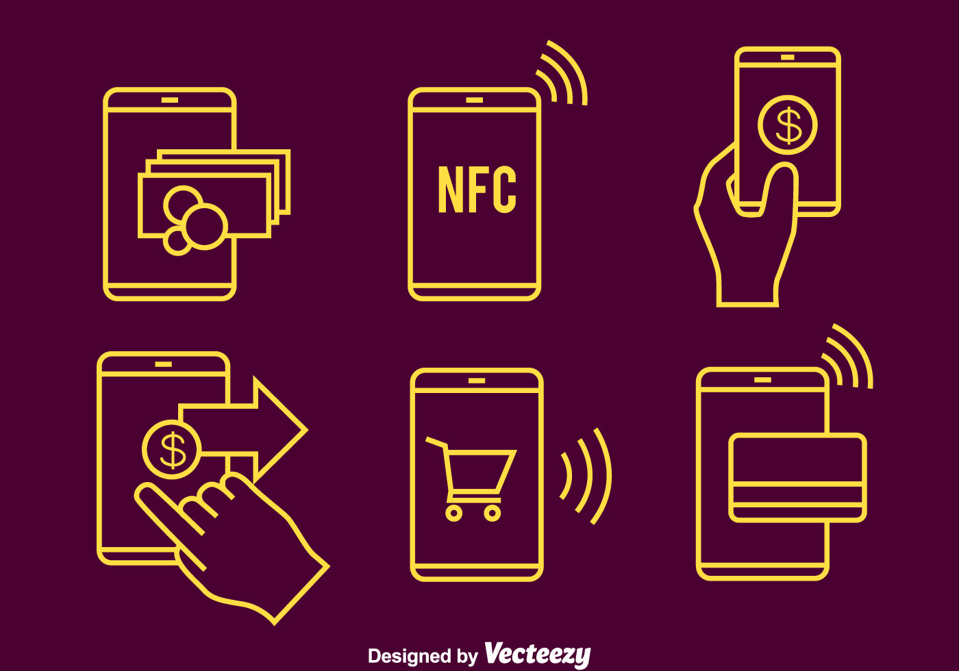 Nfc Payment Line Icons Vector - Download Free Vector Art ...  Nfc Payment Lin...