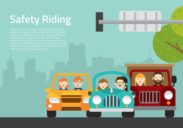 Carpool Cartoon Free Vector