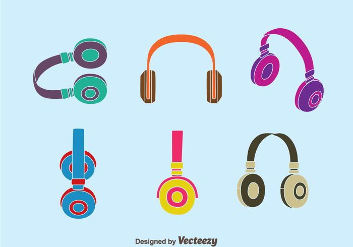 Colorful Headphone Collection Vector