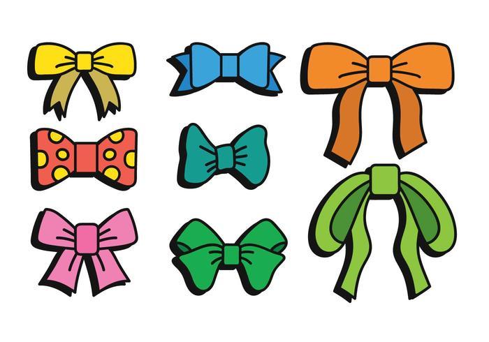 Hair ribbon vector hand drawn set