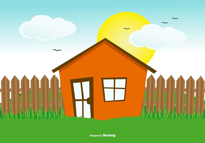 Cute Flat Hoouse Landscape Illustration