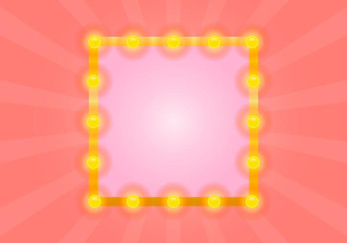 Lighted Mirror with Pink Sunburst Vector