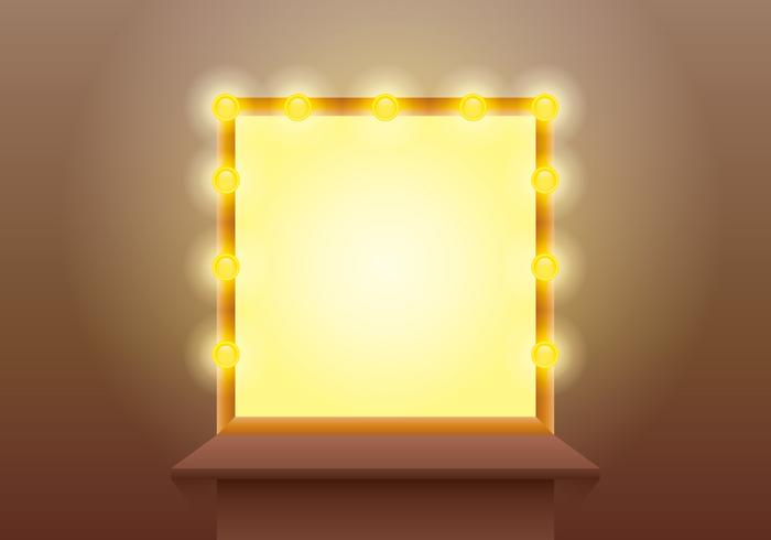 Lighted Mirror with Wooden Table Vector
