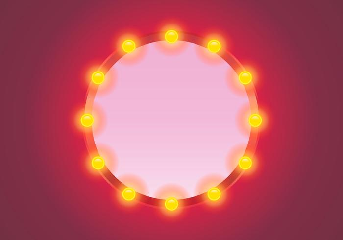 Vector Lighted Mirror with Pink Background