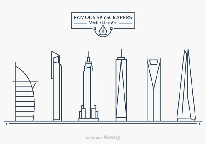 Free Famous Skyscrapers Vector Line Art