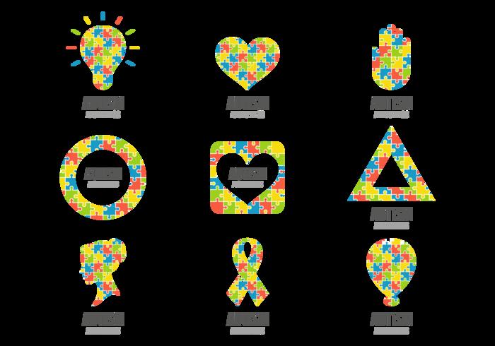 Símbolo enigma colorido do Autismo