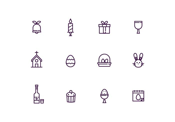 Easter Icons in Outline Style