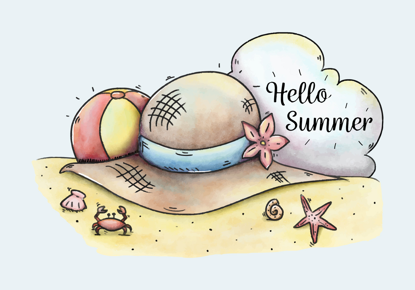 Cute Beach Scene With Hat And Ball To Summer - Download ...