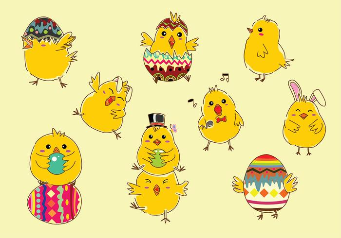 Ostern Küken-Cartoon-Free Vector