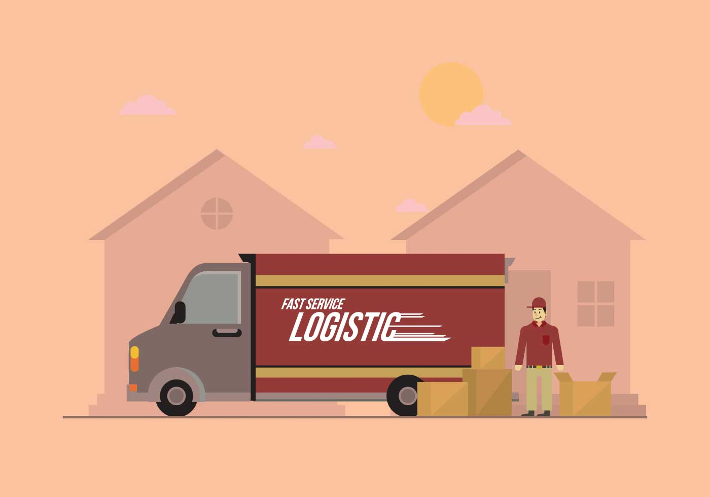 delivery truck vector illustration download free vector
