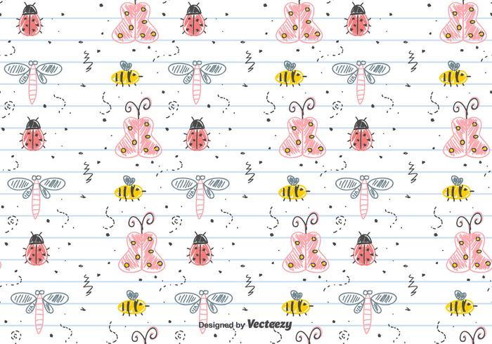 Children's Drawing Insects Pattern