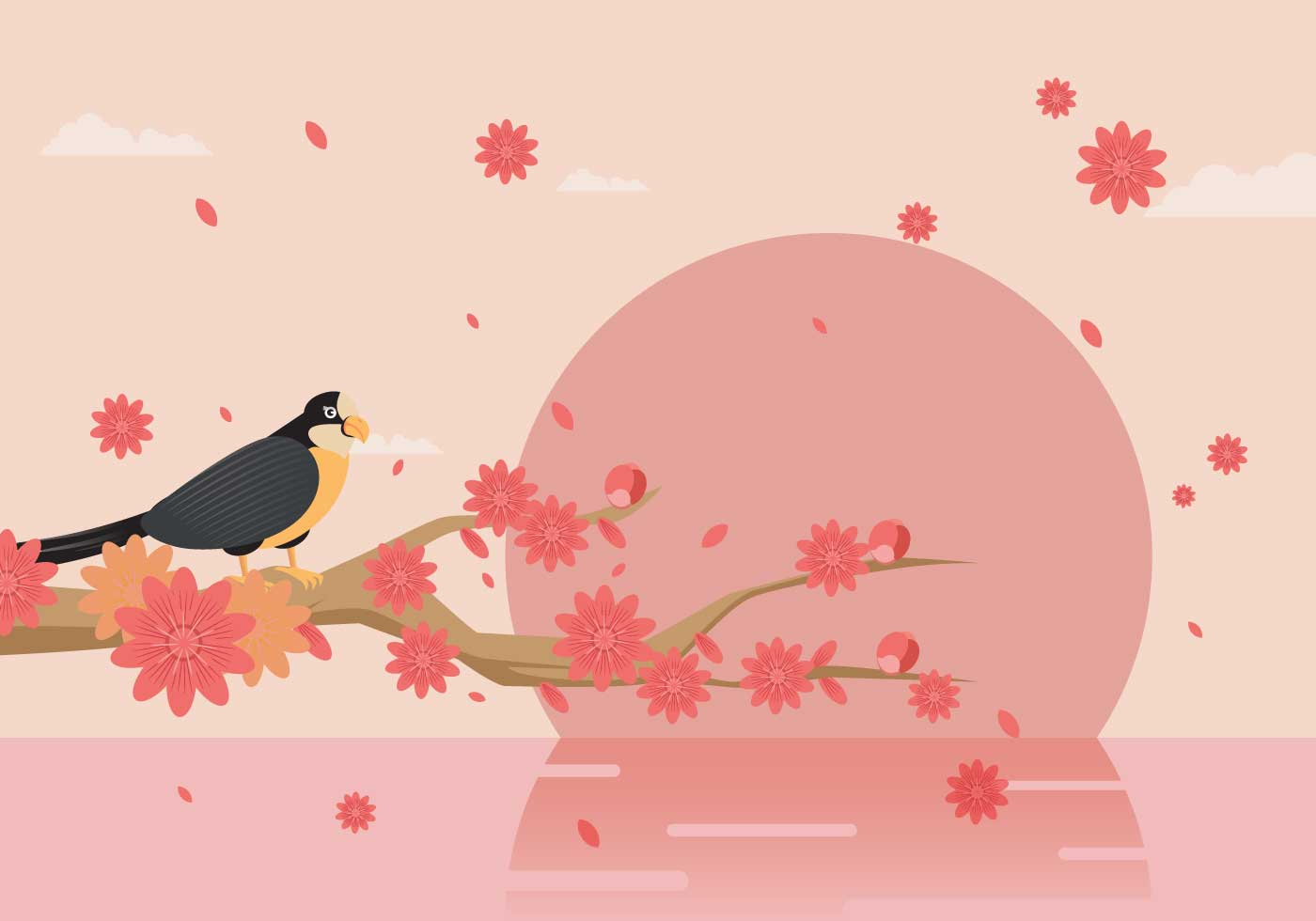 Elegant Spring Background Decorated With Peach Flowers ...