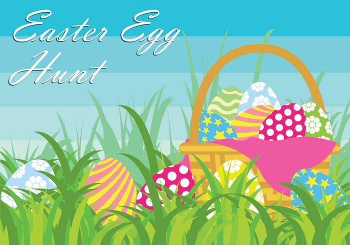 Easter Egg Hunt Vector Illustration