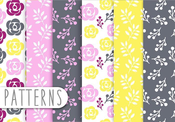 Floral Decorative Pattern Vector Set