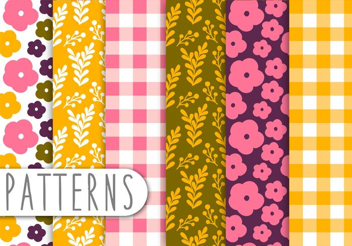 Floral and Gingham Decorative Pattern Set