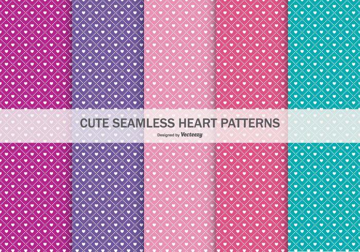 Colección linda de patrones sin fisuras del corazón