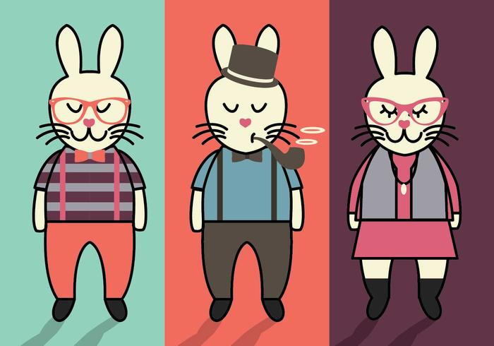 Bunny Hipster Easter Vectors