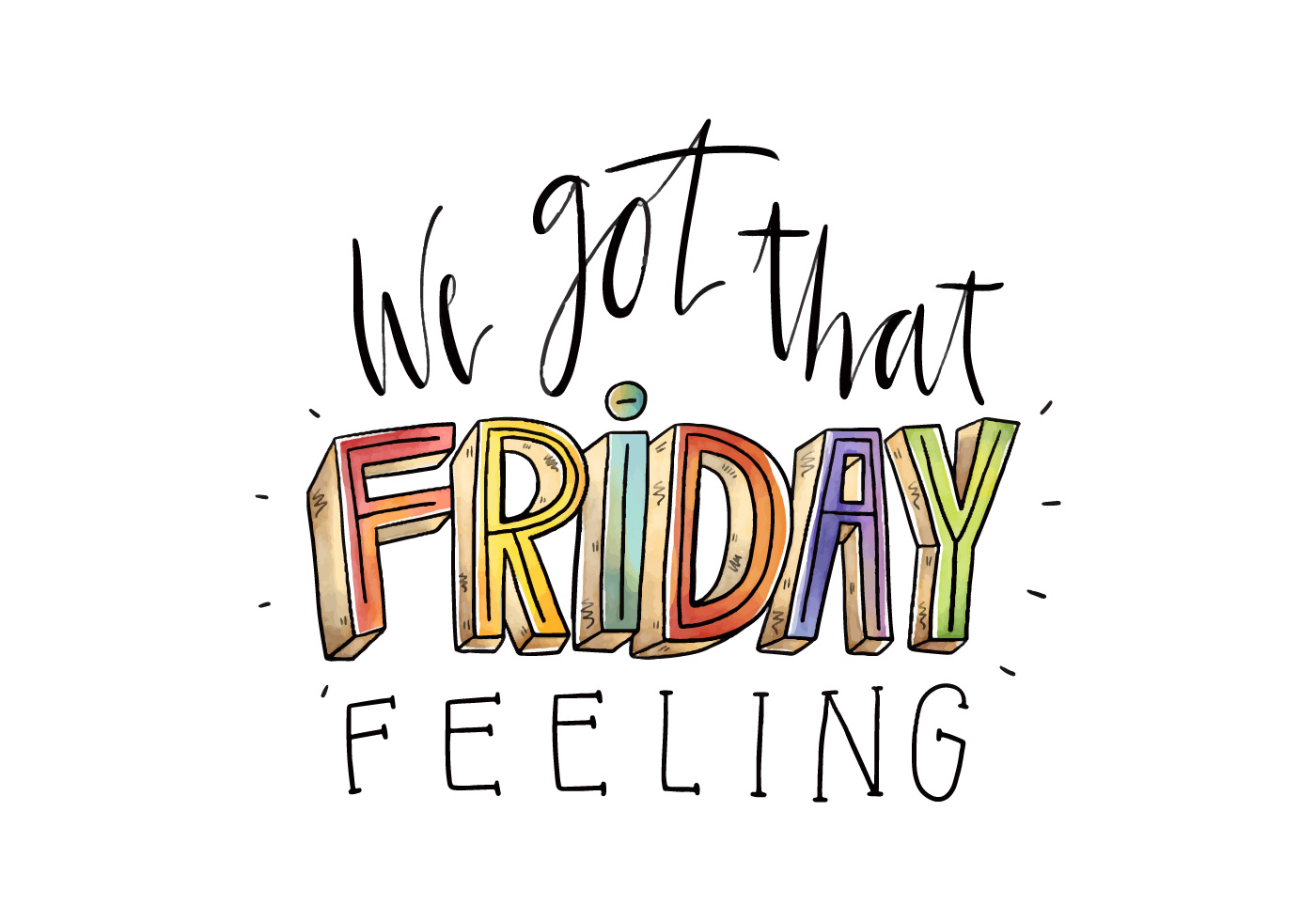 Friday Quotes: Cute And Colorful Friday Quote Watercolor Style