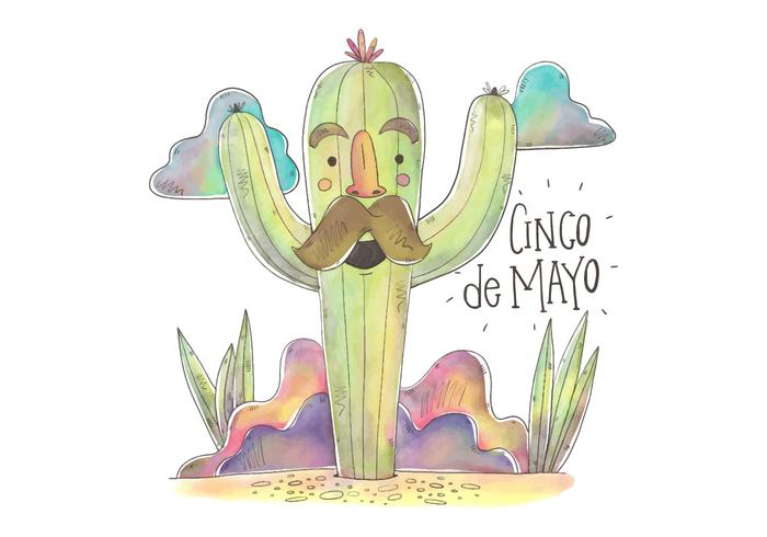 Colorful Cactus Character for Cinco De Mayo Vector