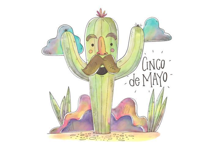 Carácter Cactus Vector colorido para Cinco de Mayo