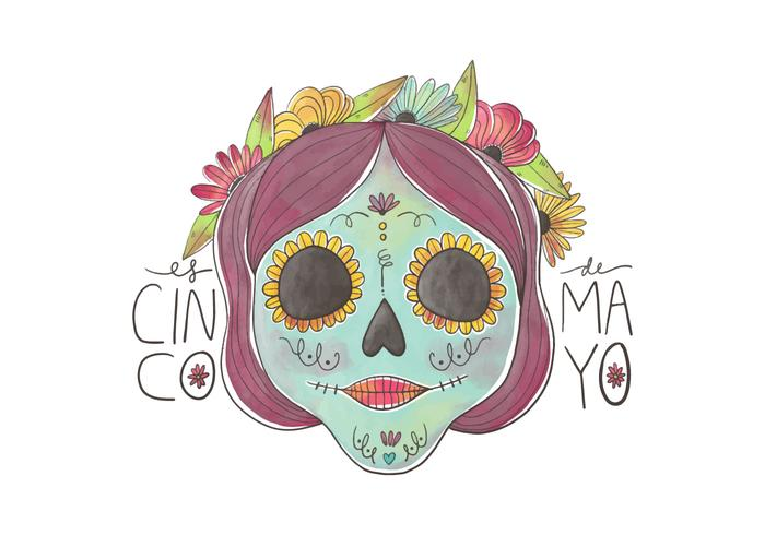 Sweet Skull With Colorful Flowers for Cinco De Mayo