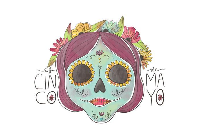 Söt Skull med färgglada blommor för Cinco De Mayo