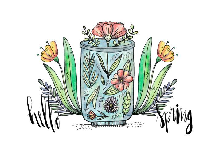 Hello Spring Terrarium Background Vector