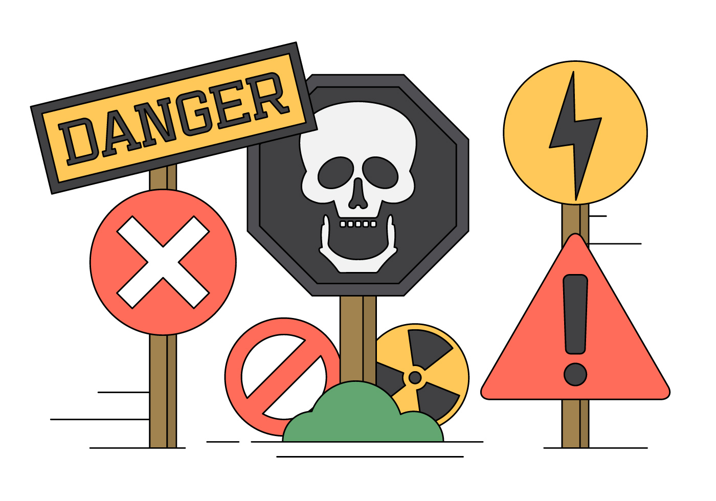 Vector Illustration Of Danger Sings And Icons Download Free Vectors Clipart Graphics Vector Art
