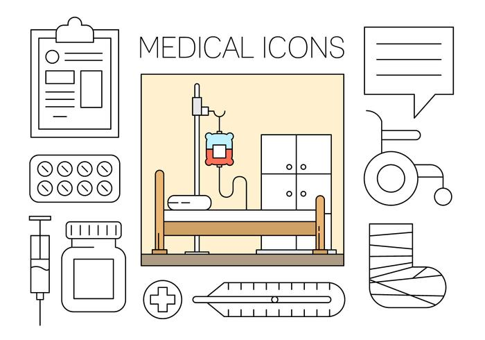 Free Medical Icons Set in Minimal-Design Vektor