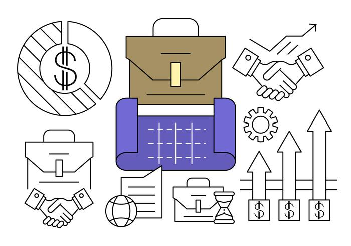 Linear Business Plan Icons