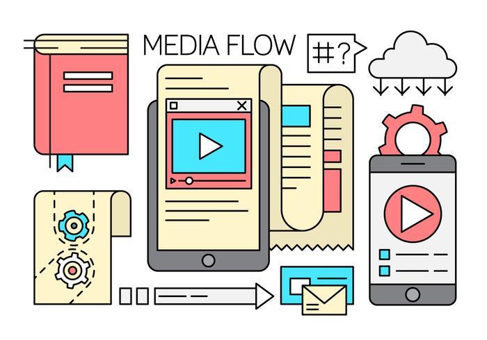 Elementos de flujo libre de los medios de comunicación lineal vector