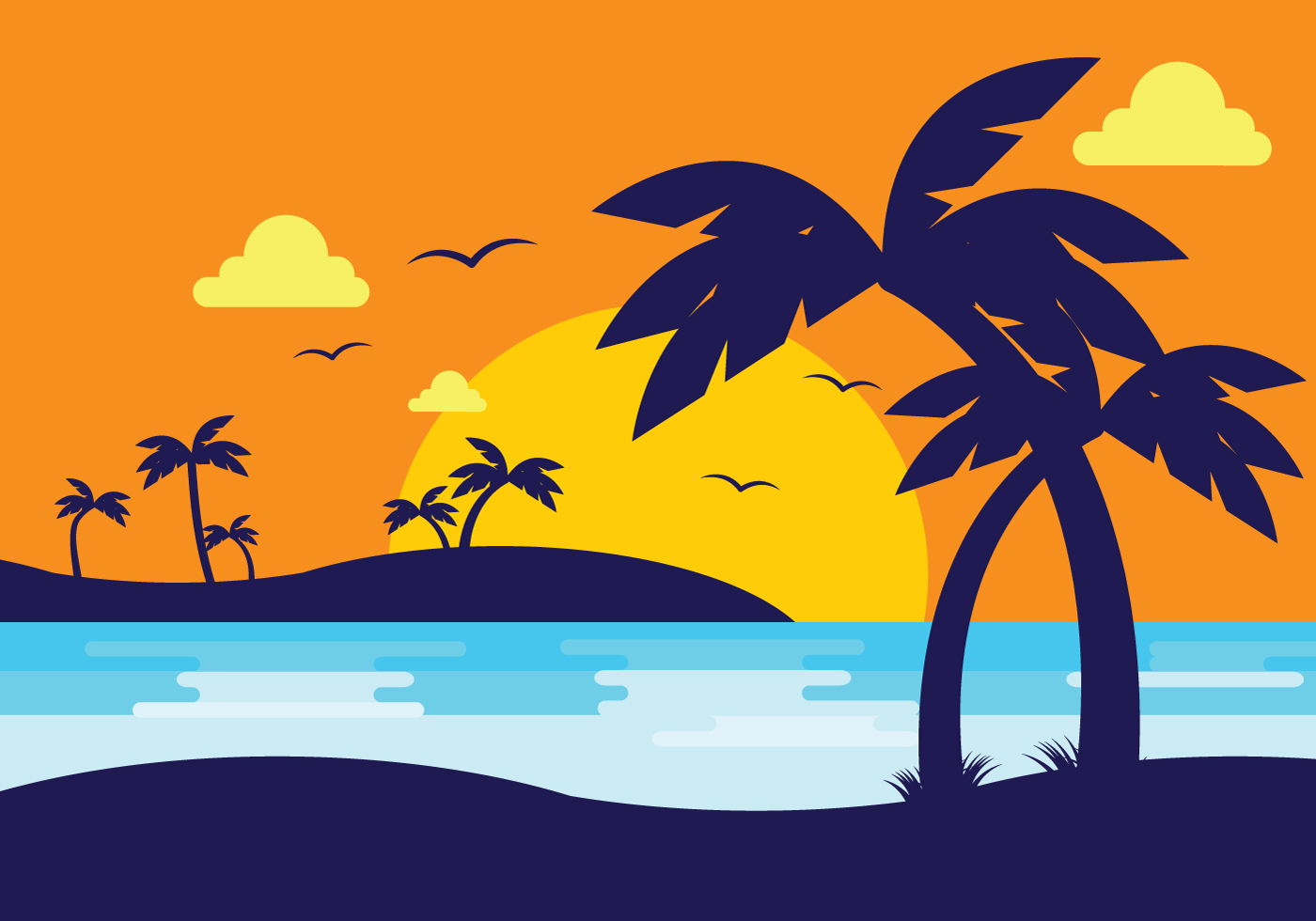 Sunset Beach With Palm Silhouette - Download Free Vector ...