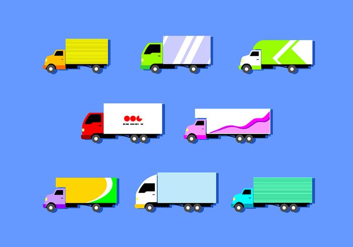 Flat Moving Van Free Vector