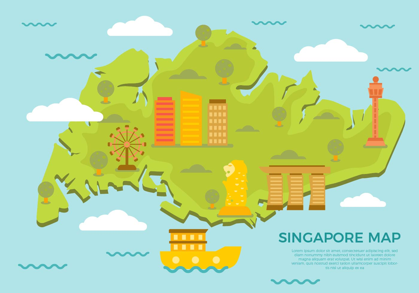 Free Singapore Map With Famous Landmark Vector - Download ...