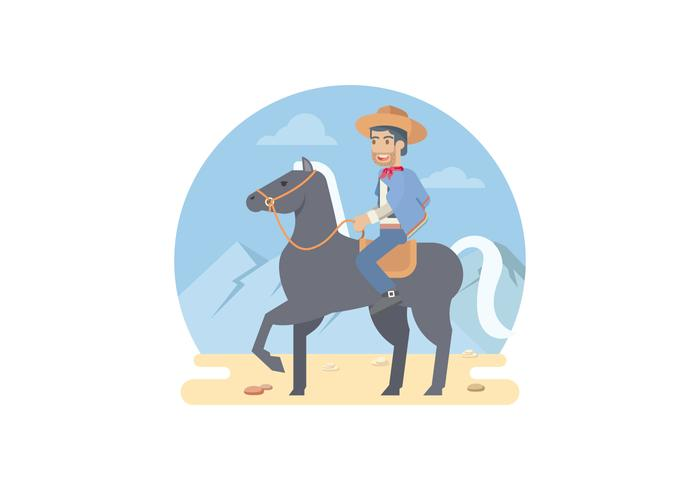 Gaucho Riding A Horse Vector Illustration