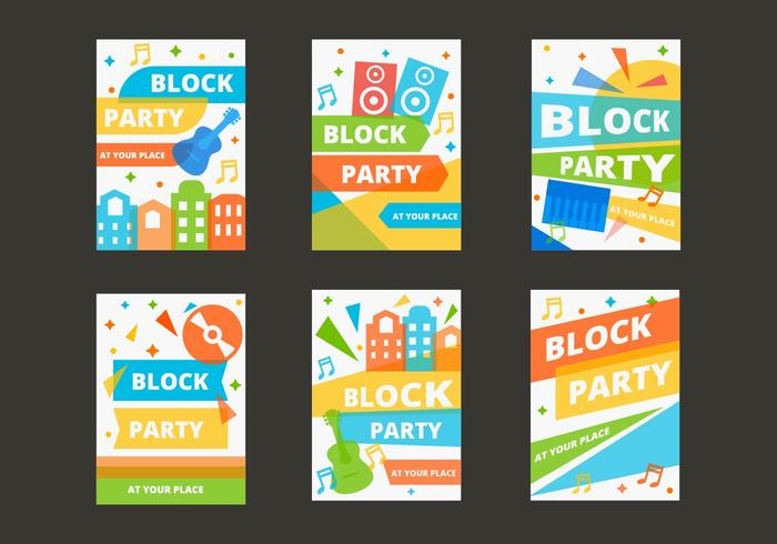 Gratis Block Party Mall Poster Vector